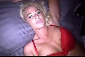 Perverted blonde mother sucks faked shaft together with receives screwed concerning POV