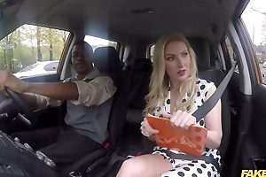 Busty driving school instructor satisfying black dude in be passed on car