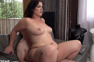 To some degree chubby MILF with natural boobs fucks young boy