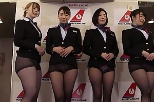 Group of Asian stewardesses getting fucked good and equal