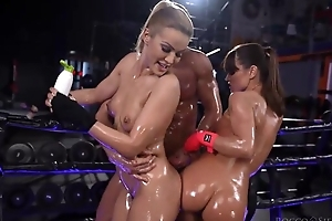 A handful of depraved Serbian babes get oiled up with an increment of fucked hard in the gym