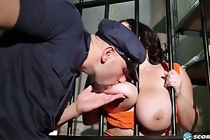 Dark-haired BBW gets fucked hard in the prison apartment