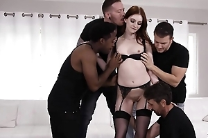 Skinny redhead bimbo in all directions stockings gets group-fucked