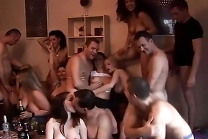 Group of horny Czech swingers having fun in an obstacle air an obstacle living room