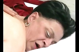 61 years old granny close by nylons stocking
