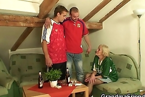 Age-old bitch gets fucked hard by three buddies