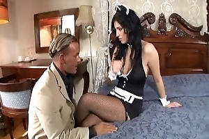 Maid fucking in their way unchangeable and fishnet nylons