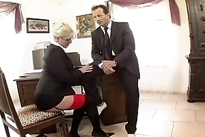 Busty secretary fucked in nylons and a embellishment