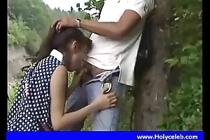 Japanese girl blowjob for affirmative in the air public place